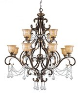 Crystorama Twelve Light Bronze Up Chandelier