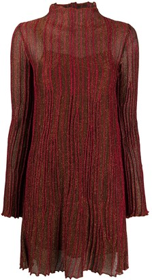 M Missoni Pleated Long-Sleeve Mini Dress