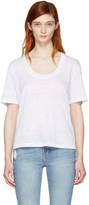 Frame White Linen U-neck T-shirt