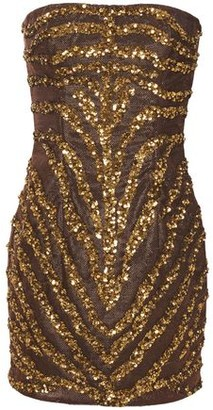 Balmain Strapless Sequin-embellished Metallic Woven Mini Dress