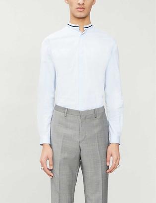 The Kooples Contrast-trim slim-fit stretch-cotton shirt