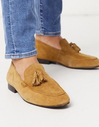 H By Hudson bolton tassel loafers beige suede