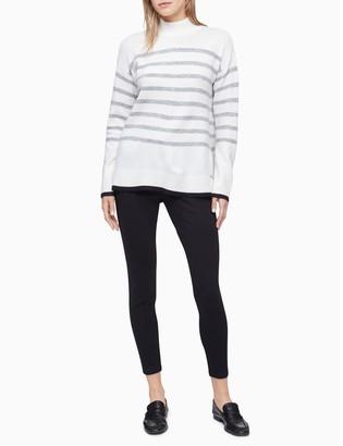 Calvin Klein Striped Mock Neck Sweater