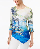 Alfred Dunner Corsica Scenic-Print Asymmetrical Top