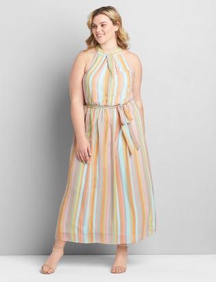Lane Bryant Striped High-Neck Maxi Dress