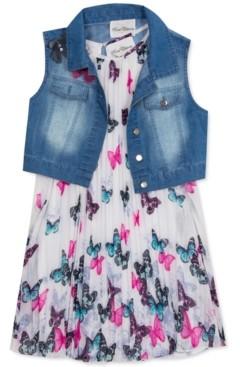 Rare Editions Little Girls 2-Pc. Denim Vest & Butterfly Shift Dress Set
