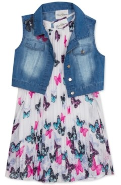 Rare Editions Toddler Girls 2-Pc. Denim Vest & Butterfly Shift Dress Set