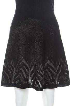 Roberto Cavalli Black and Gold Knit Mini A-line Skirt M