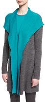 St. John Reversible Waterfall-Drape Colorblock Sweater, Flint Melange/Peacock