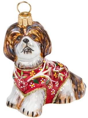 Shih Joy To The World Collectibles Tzu in a Silk Kimono Brown & White Ornament