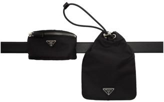 Prada Black Tessuto Pocket Drawstring Pouch Belt