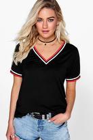 Boohoo Tanya V Neck Sports Rib Cuff T Shirt