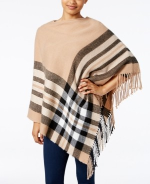 Fraas Plaid Brushed Poncho, Created for Macy's