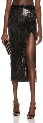 Rasario Sequin Midi Skirt in Black | FWRD