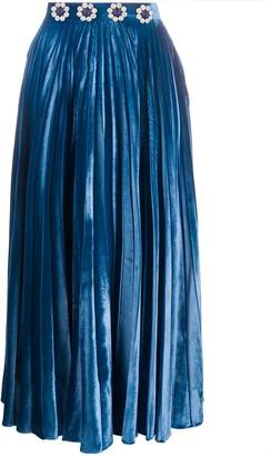 Christopher Kane Crystal-Embellished Pleated Midi Skirt