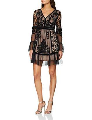 Frock and Frill Women's Embroidered Dress with Frill Hem and Sleeve Party