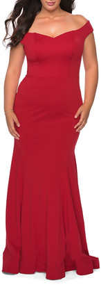 La Femme Plus Size Off-the-Shoulder Jersey Bodycon Gown