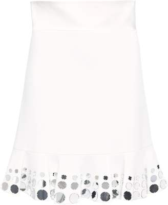 David Koma Fluted Mirror-embellished Stretch-cady Mini Skirt