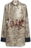 Mulberry Agatha Shirt Taupe Woodland Scene Twill