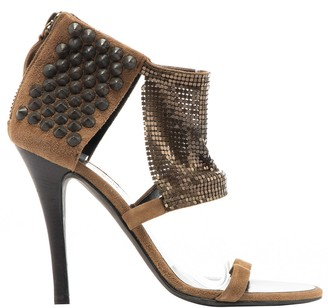 Balmain Brown Suede Sandals