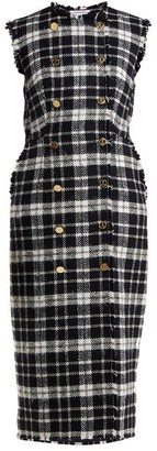 Thom Browne Double-breasted Tweed Dress - Womens - Navy Multi