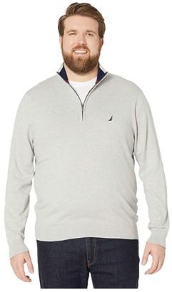 Nautica Big Tall 1/4 Zip Navtech Mock Neck Sweater (Grey Heather) Men's Sweater