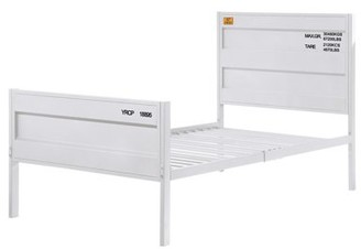 ACME Furniture Acme Cargo Container Style Metal Frame Bed in White, Multiple Sizes