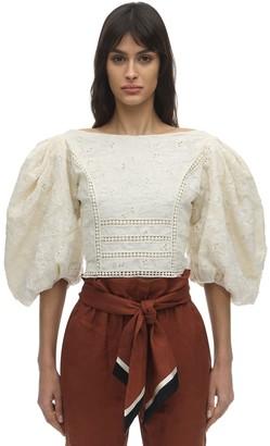 Johanna Ortiz Embroidered Cotton Voile Top