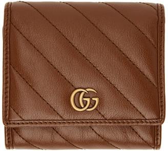 Gucci Brown Diagonal GG Marmont 2.0 Flap Wallet