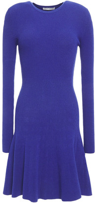 Autumn Cashmere Fluted Ribbed-knit Mini Dress