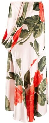 Simone Rocha Rose-Print Draped Mid-Length Skirt