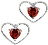 Gem Stone King 0.67 Ct Heart Shape Red Garnet and White Diamond 18k White Gold Earrings