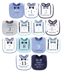 Hudson Baby Baby Girls and Boys Ladies I Have Arrived Monthly Milestone Interlock Bibs, Pack of 13