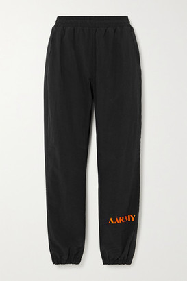 AARMY Embroidered Shell Track Pants - Black