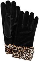 Cejon Printed-Cuff Velvet Gloves