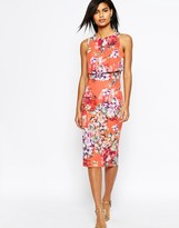 Asos Crop Top Midi Pencil Dress in Orange Floral