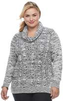 Croft & Barrow Plus Size Space-Dyed Cowlneck Sweater
