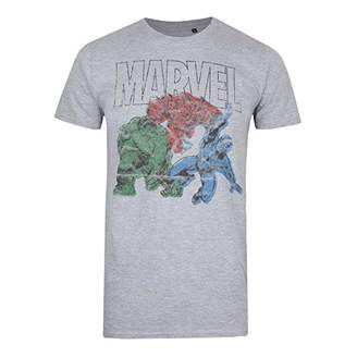 Marvel Trio-Mens T Shirt-Grey Heather-SML HGY, (Size:)