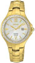 Seiko Women's Solar Coutura Diamond Accent Gold-Tone Stainless Steel Bracelet Watch 29mm SUT242