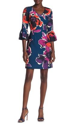 Trina Turk Mamie Floral 3/4 Sleeve Dress