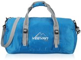 Veevanpro Foldable Sports Gym Duffel Bag with Shoulder Strap Green Blue-1