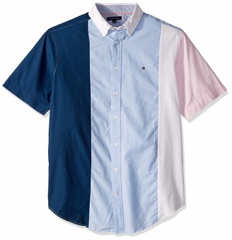 Tommy Hilfiger Men's Size Big and Tall Button Down Short Sleeve Shirt Oxford