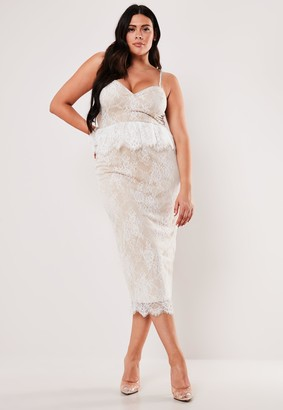 Missguided Plus Size White Lace Diamante Strap Peplum Midi Dress