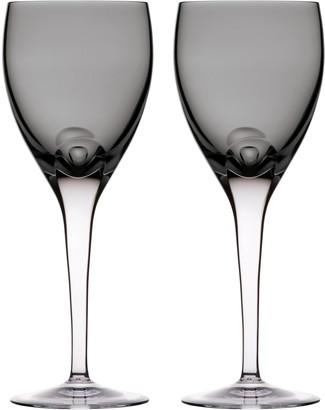 Waterford W Set of 2 Lead Crystal Wine Glasses