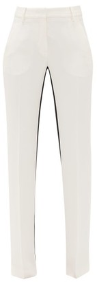 No.21 No. 21 - Striped Crepe Straight-leg Trousers - Cream