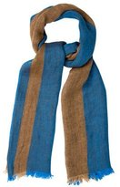 Malo Striped Raw-Edge Scarf