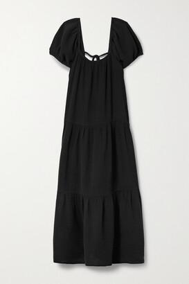 HONORINE Elodie Cotton-gauze Midi Dress - Black