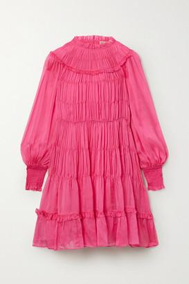 Ulla Johnson Emmeline Silk-habotai Shirred Mini Dress - Bubblegum