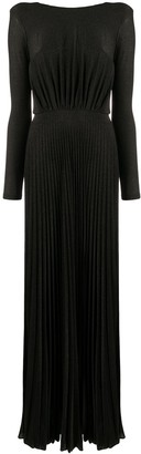 Elisabetta Franchi Pleated Open-Back Gown