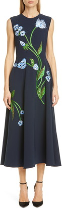 Lela Rose Floral Embroidered Stretch Crepe Midi Dress